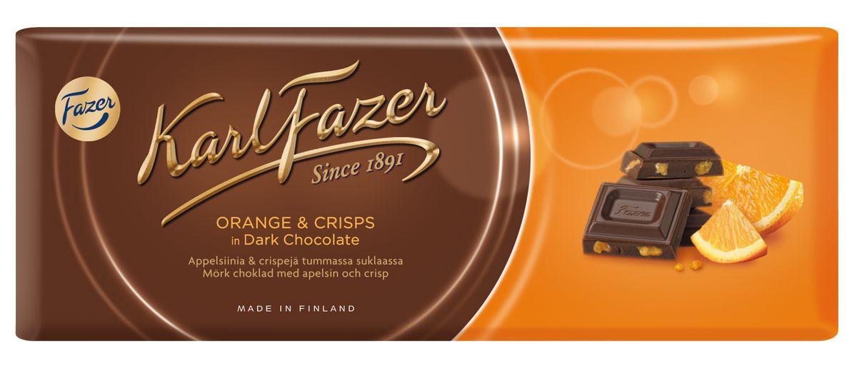 Karl Fazer Темный шоколад со вкусом апельсина, 200 г dr oetker глазурь со вкусом темного шоколада 100 г