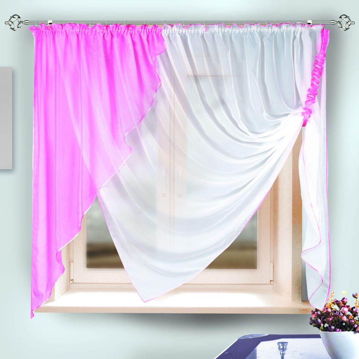 Комплект штор для кухни Zlata Korunka, на ленте, цвет: розовый, высота 170 см. 33332 комплект штор для кухни zlata korunka на ленте цвет белый коричневый высота 170 см 333311