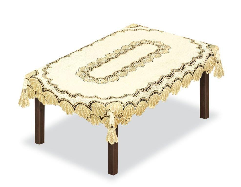 Скатерть Haft, прямоугольная, цвет: кремовый, золотистый, 300 x 145 см. 204850 скатерть haft овальная цвет кремовый золотистый 145 x 95 см 226561