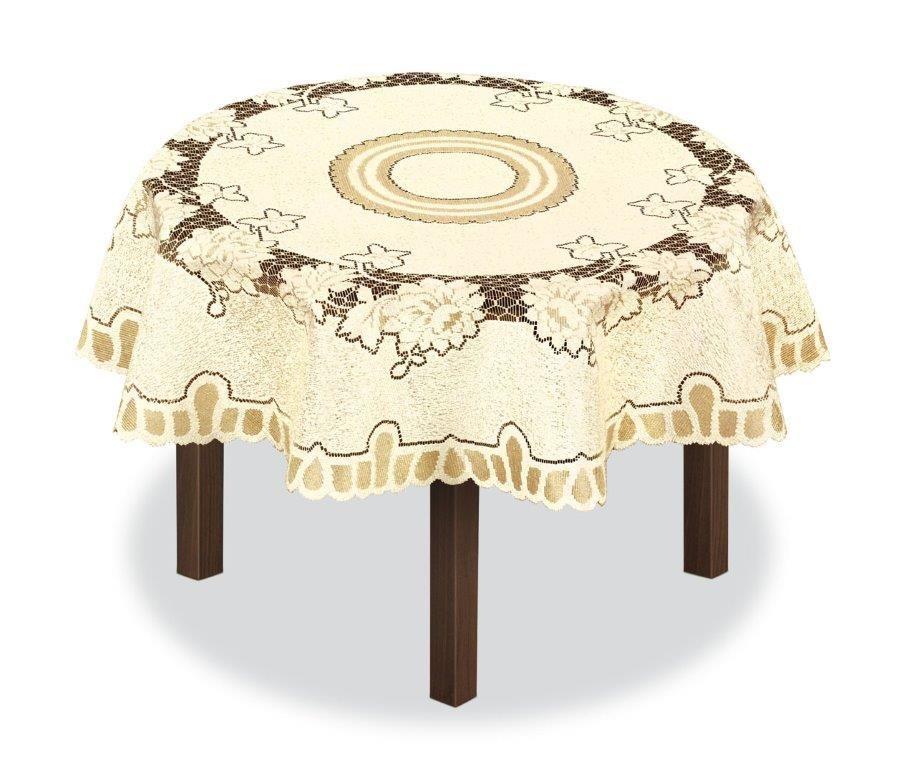 Скатерть Haft, круглая, цвет: кремовый, золотистый, диаметр 150 см. 226563 скатерть haft овальная цвет кремовый золотистый 145 x 95 см 226561