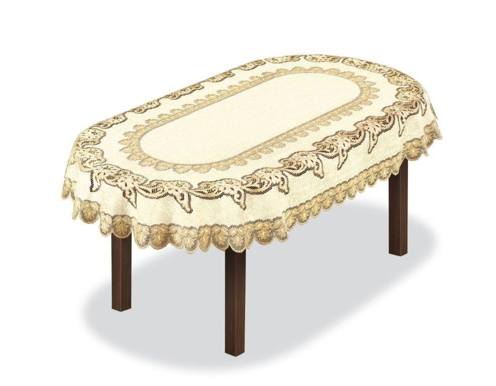 Скатерть Haft, овальная, цвет: кремовый, золотистый, 300 x 150 см. 227931 скатерть haft овальная цвет кремовый золотистый 145 x 95 см 226561