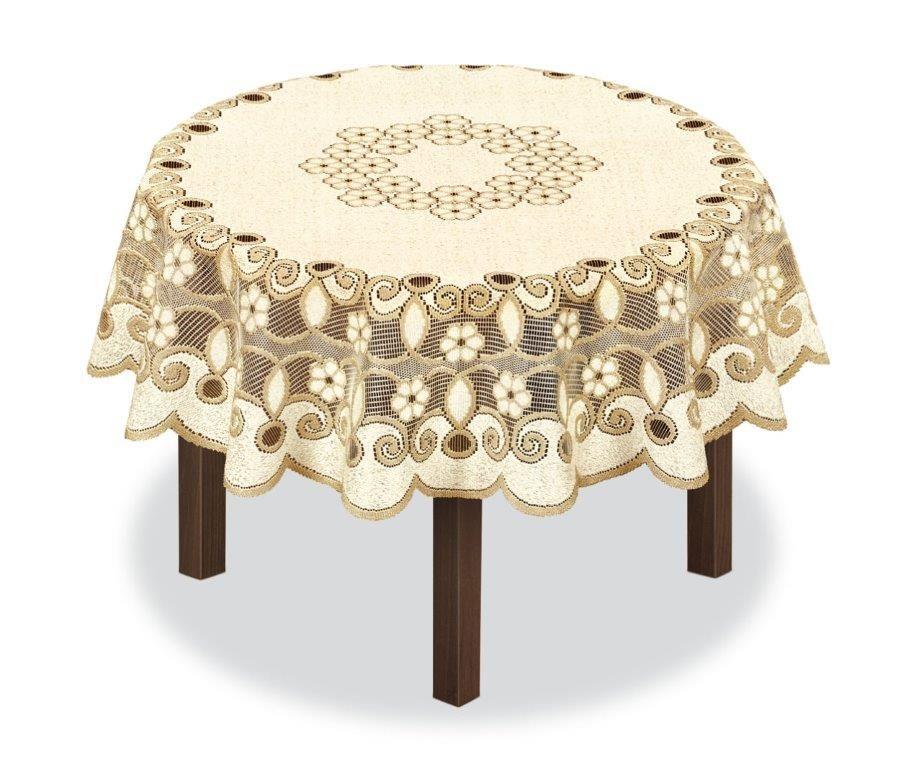Скатерть Haft, круглая, цвет: кремовый, золотистый, диаметр 200 см. 231493 скатерть haft овальная цвет кремовый золотистый 145 x 95 см 226561
