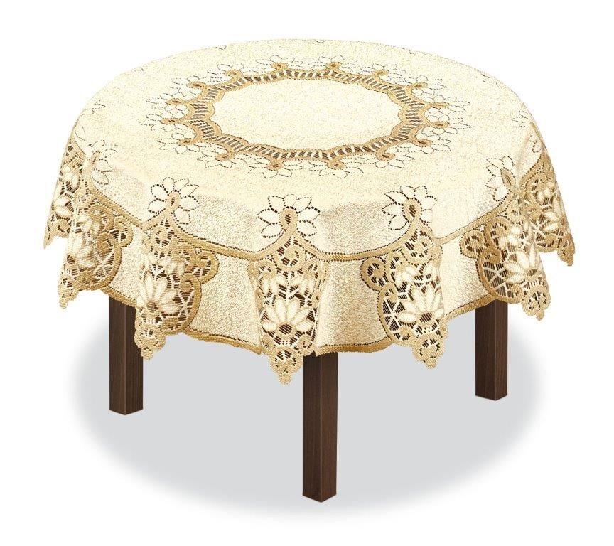 Скатерть Haft, круглая, цвет: кремовый, золотистый, диаметр 200 см. 231503 скатерть haft овальная цвет кремовый золотистый 145 x 95 см 226561