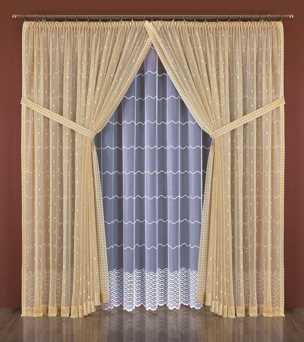 Комплект штор Wisan, цвет: бежевый, высота 250 см. 550W шторы для комнаты tomdom комплект штор тризи бежевый