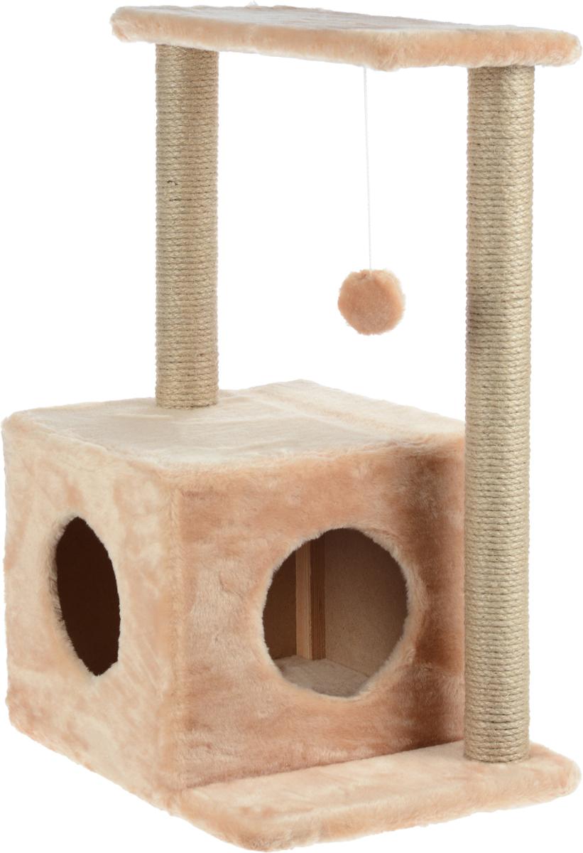 домик для кошек меридиан 2 ярусный цвет леопардовый 54 х 54 х 47 см Домик-когтеточка Меридиан Квадратный, 2-ярусный, с игрушкой, цвет: светло-коричневый, бежевый, 50 х 36 х 75 см