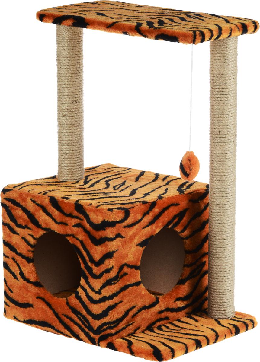 Меридиан, Домик-когтеточка Квадратный двухэтажный с двумя окошками, джут, рис. Тигр (красный фон, черный рисунок), 50 х 36 х 75 см домик когтеточка меридиан квадратный трехэтажный с двумя окошками цвет светло коричневый 45 х 47 х 75 см