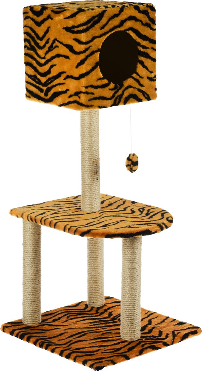 Домик-когтеточка Меридиан Квадратный, 3-ярусный, с игрушкой, цвет: коричневый, черный, 51 х 51 х 105 см домик когтеточка меридиан квадратный 3 ярусный с игрушкой цвет бежевый черный 65 х 51 х 173 см