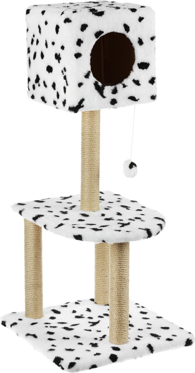 Домик-когтеточка Меридиан Квадратный, 3-ярусный, с игрушкой, цвет: белый, черный, 51 х 51 х 105 см домик когтеточка меридиан квадратный 3 ярусный с игрушкой цвет бежевый черный 65 х 51 х 173 см