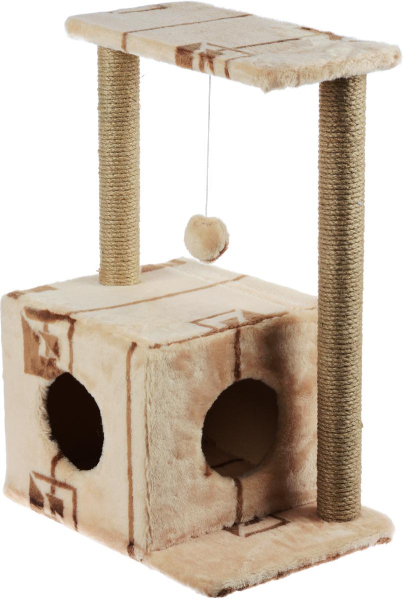 Меридиан, Домик-когтеточка Квадратный двухэтажный с двумя окошками, джут, рис. Геометрия (бежевый фон, коричневый рисунок), 50 х 36 х 75 см домик когтеточка меридиан квадратный трехэтажный с двумя окошками цвет светло коричневый 45 х 47 х 75 см