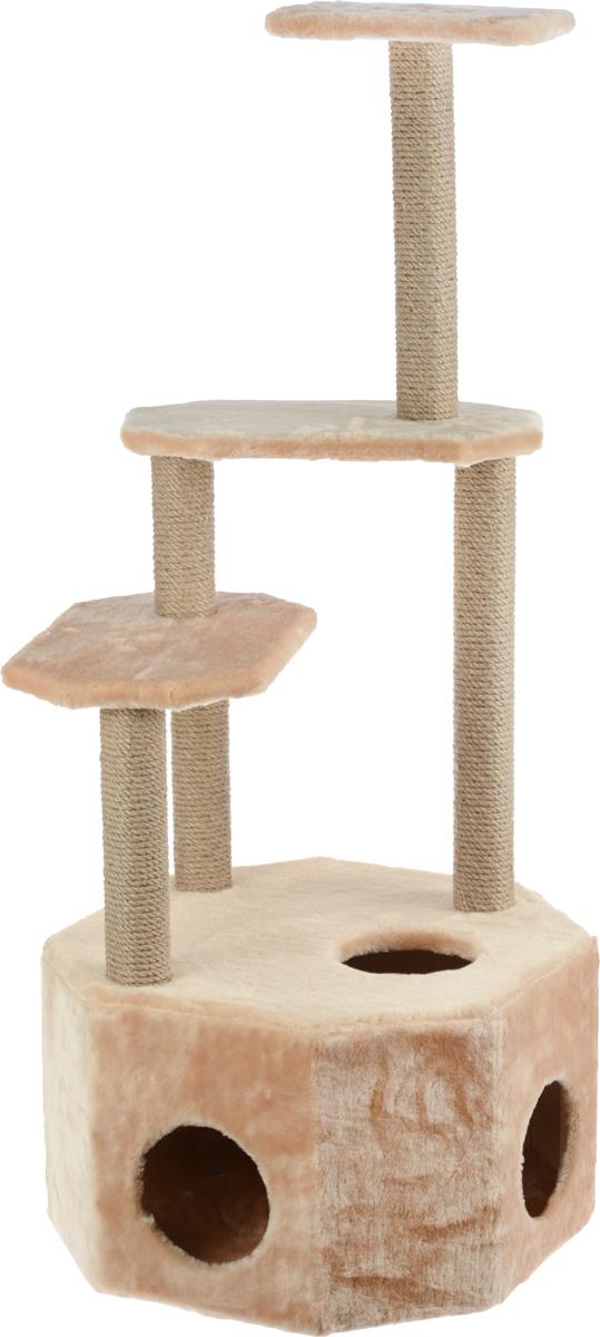 Домик-когтеточка Меридиан Высотка, 4-ярусный, цвет: светло-коричневый, 51 х 51 х 123 смД240СКДомик-когтеточка Меридиан Высотка выполнен из высококачественного ДВП и ДСП и обтянут искусственным мехом. Изделие предназначено для кошек. Комплекс имеет 4 яруса. Ваш домашний питомец будет с удовольствием точить когти о специальные столбики, изготовленные из джута. А отдохнуть он сможет либо на полках, либо в расположенном внизу домике. Домик-когтеточка Меридиан Высотка принесет пользу не только вашему питомцу, но и вам, так как он сохранит мебель от когтей и шерсти. Общий размер: 51 х 51 х 123 см. Размер домика: 51 х 51 х 32 см.