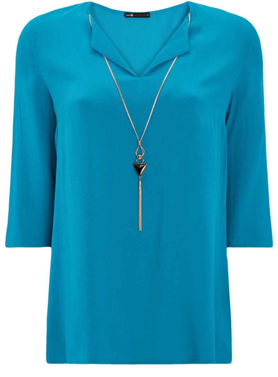 Блузка oodji блузка свободного покроя бойфренд с v образный вырезом рисунком и рукавами 3 4