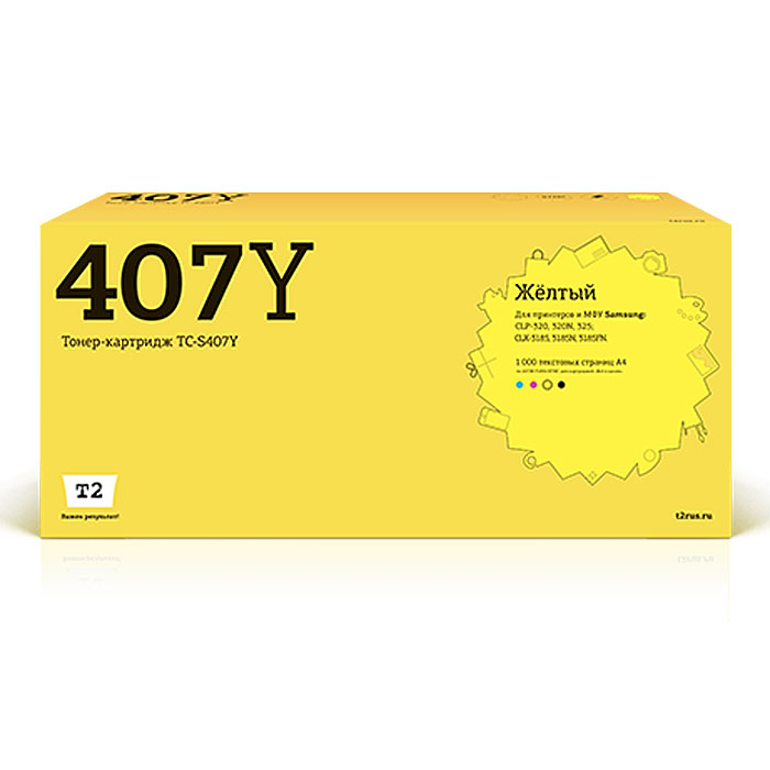 Картридж T2 TC-S407Y, желтый, для лазерного принтера t2 clt y407s tc s407y