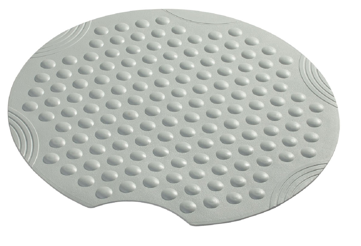 Коврик для ванной Ridder Tecno+, противоскользящий, на присосках, цвет: серый, диаметр 55 см