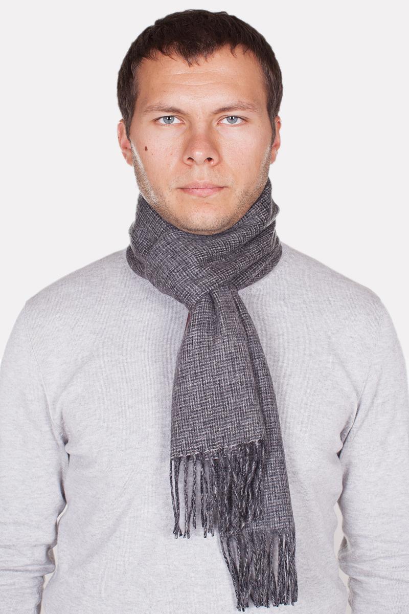 Мужской шарф оранжевый белый серый фото