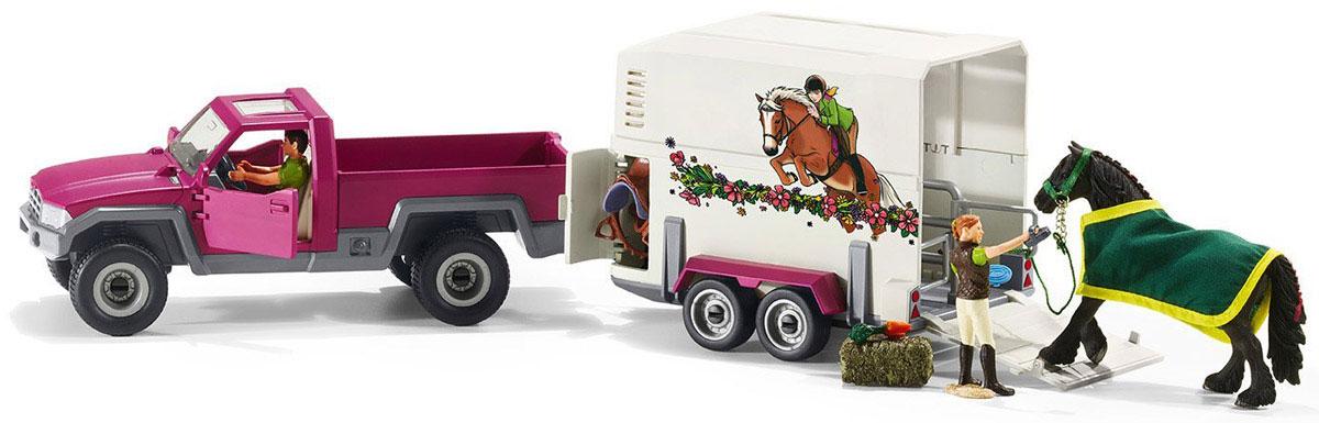 Schleich Игровой набор Пикап с прицепом для лошади42346Игровой набор Schleich Пикап с прицепом для лошади станет отличным подарком для любителей и коллекционеров фигурок лошадей от фирмы Schleich. Этот набор разнообразит варианты сюжетно-ролевых игр с фигурками.Теперь с легкостью можно будет отправиться в путешествие или на соревнования со своей любимой лошадкой. Прицеп для лошади очень красивый и удобный. На нем изображены наездница и лошадь, легко преодолевающие препятствия. В прицепе имеется окошко и разделитель, в нем могут поместиться две лошадки одновременно. Крыша прицепа снимается, и во время остановок на отдых лошадка тоже сможет дышать свежим воздухом и наслаждаться солнышком. В прицепе также находится специальный отсек для хранения необходимых принадлежностей и амуниции. Двери пикапа открываются, за рулем сидит водитель. Прицеп можно отсоединить от пикапа. Колеса у пикапа и прицепа имеют свободный ход.Красочный набор выглядит невероятно реалистично, выполнен из качественного каучукового пластика, который безопасен для детей.