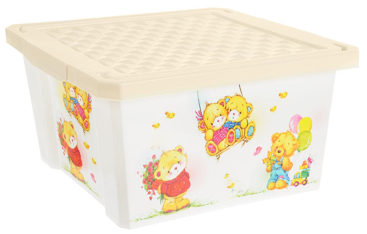 Фото - Little Angel Детский ящик для хранения игрушек X-BOX Bears 17 л цвет слоновая кость белый little angel ящик для игрушек x box малышарики 17 л