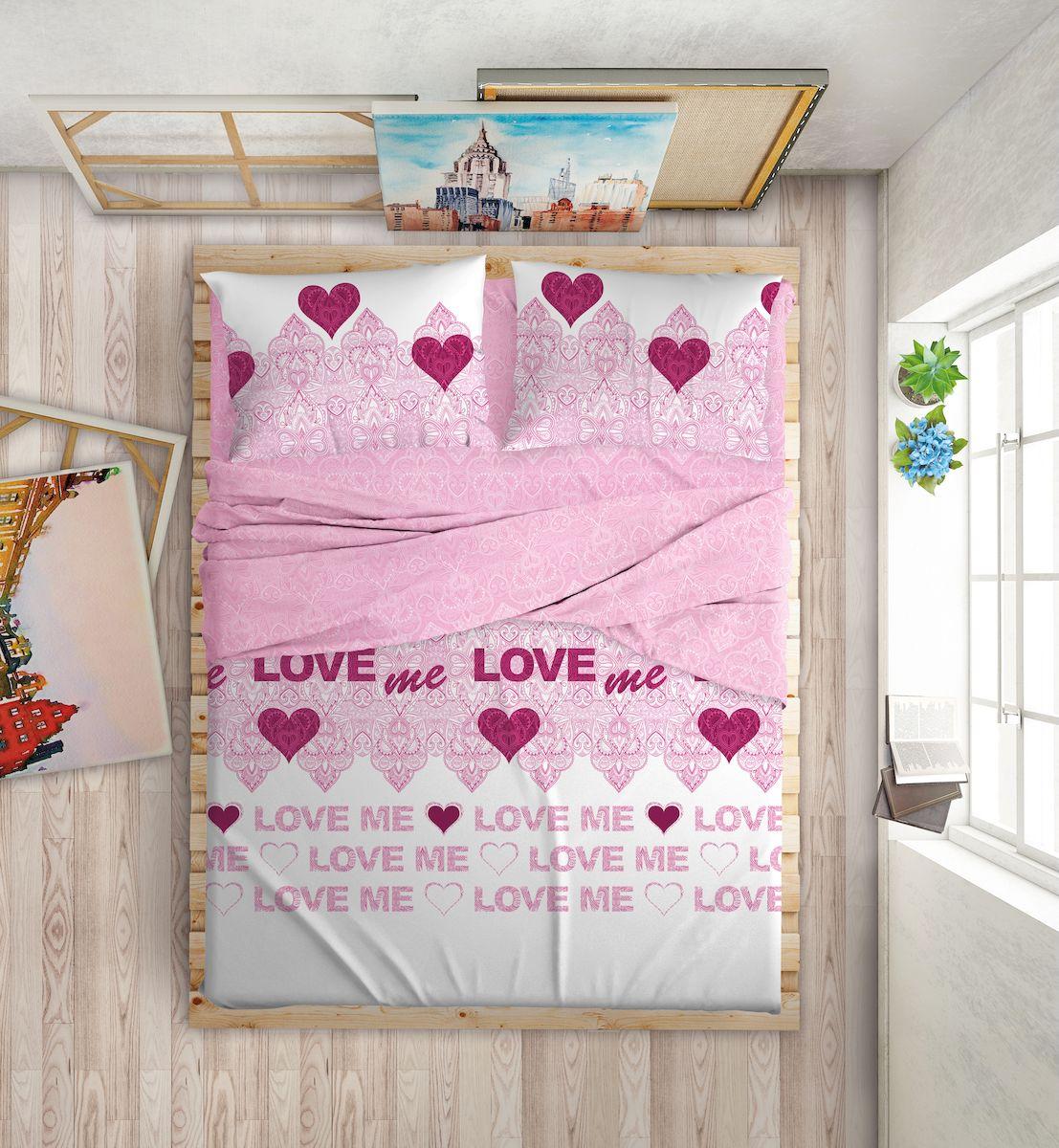 Комплект белья Love Me, 2-спальный, наволочки 50х70, 70х70, цвет: белый, розовый комплект белья love me london евро наволочки 50х70 70х70 711085