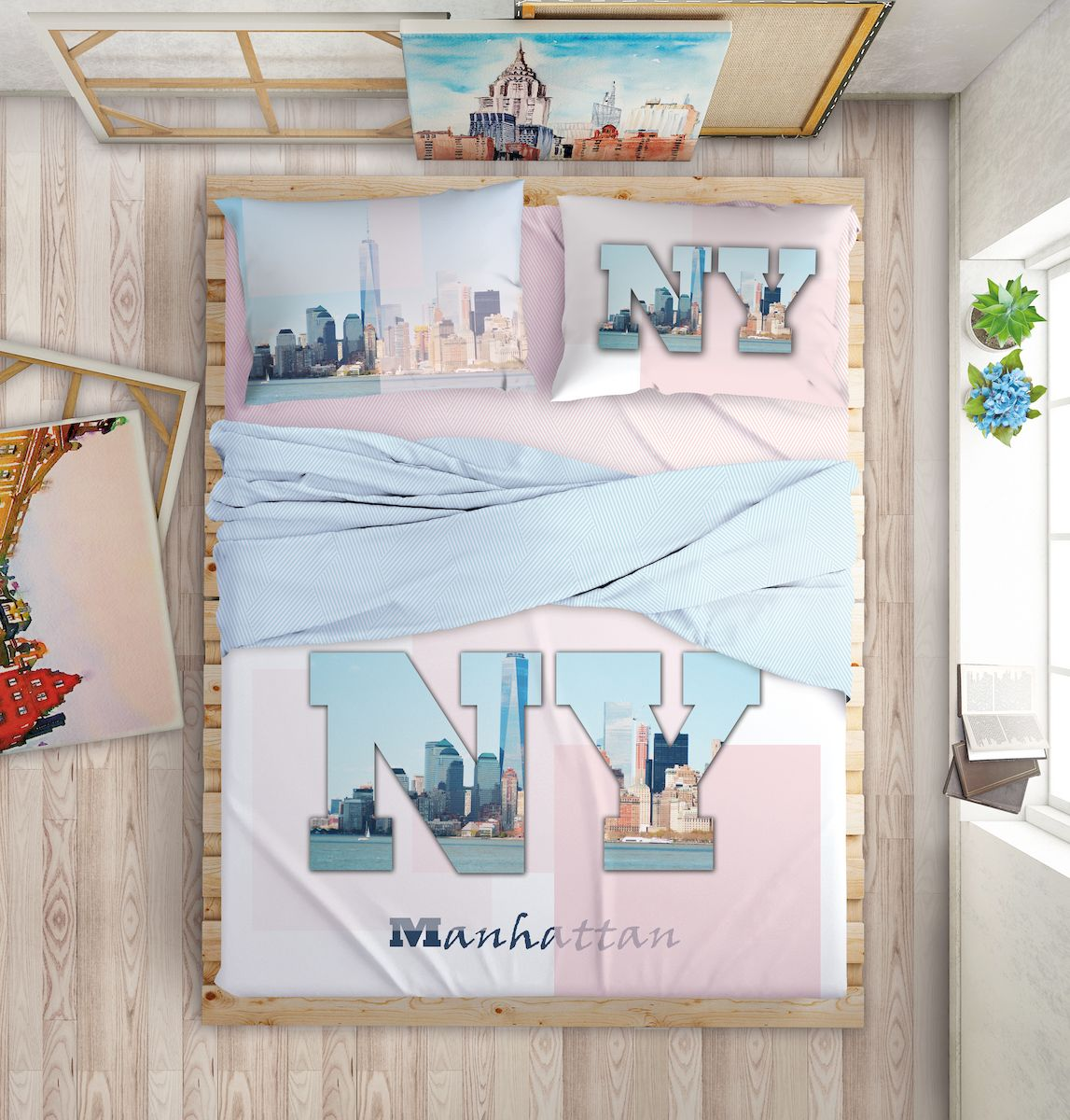 Комплект белья Love Me Manhattan Dreams, евро, наволочки 50х70, 70х70, цвет: голубой комплект белья love me london евро наволочки 50х70 70х70 711085