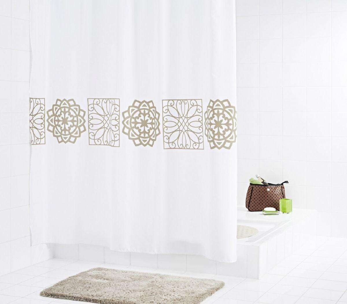 Штора для ванной комнаты Ridder Tunis, цвет: бежевый, коричневый, 180 х 200 см стакан для ванной комнаты ridder stone цвет бежевый