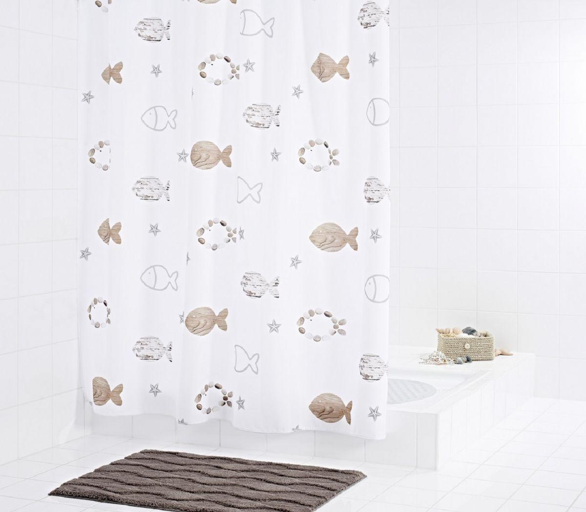 Штора для ванной комнаты Ridder Fishes, цвет: бежевый, коричневый, 180 х 200 см стакан для ванной комнаты ridder stone цвет бежевый