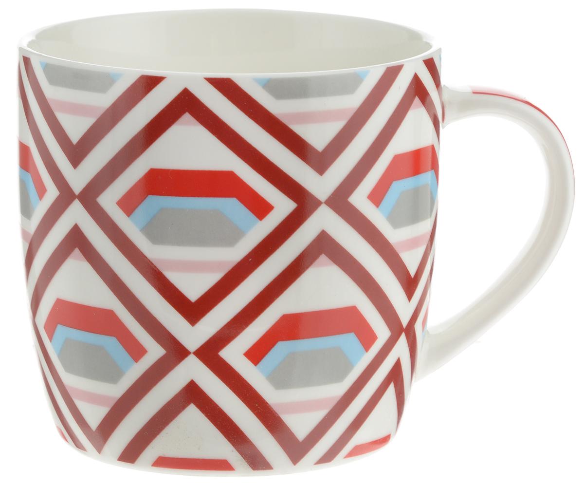 Кружка Loraine, цвет: белый, красный, серый, 320 мл кружка loraine цвет белый красный голубой 320 мл 24484