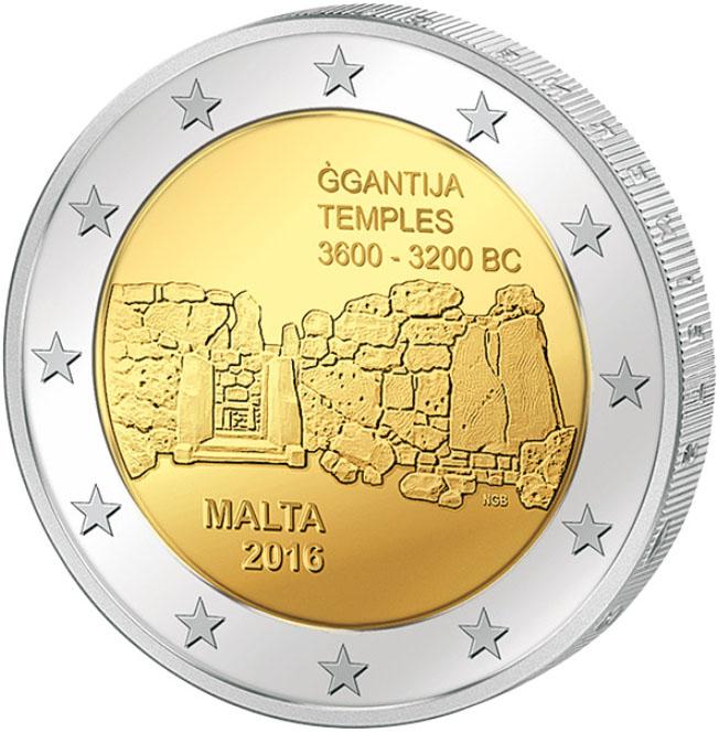 Монета номиналом 2 евро Джгантия (доисторические города Мальты). Мальта, 2016 год монета номиналом 5 рублей успенский собор в москве медно никелевый сплав ссср 1990 год