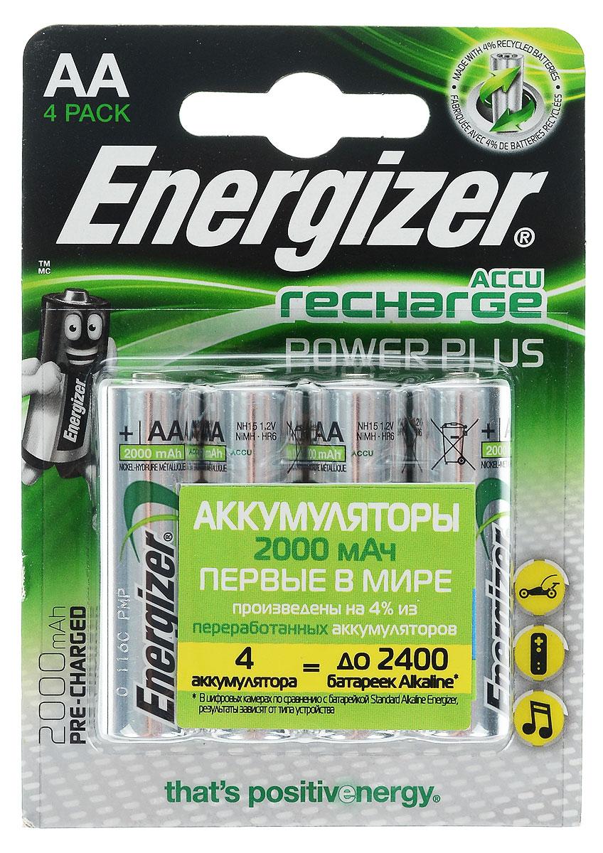Аккумулятор Energizer Rech Power Plus, тип AA, 2000 mAh, 1,2V, 4 шт аккумулятор крона energizer rech power plus nh22 175 mah ni mh 1 штука