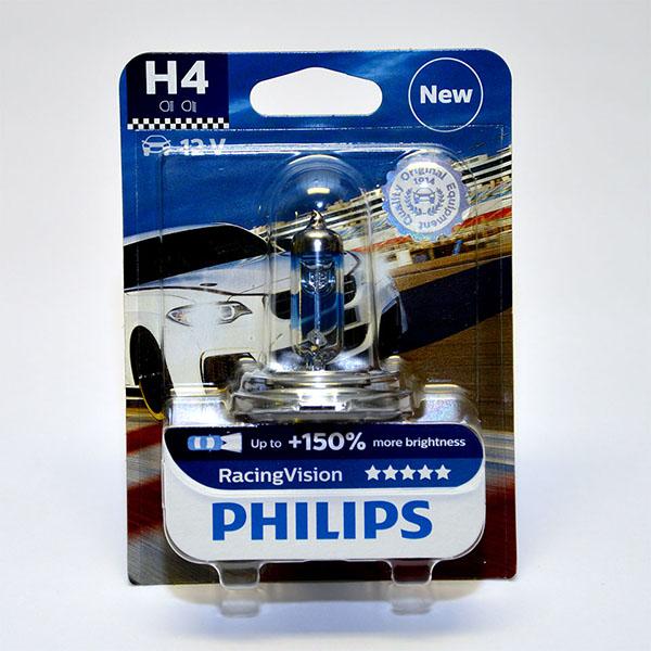Лампа автомобильная галогенная Philips RacingVision +150, цоколь H4, 60 Вт телевизор philips 32pht4132 60