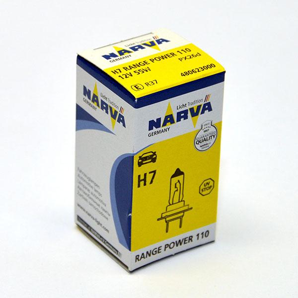 Лампа автомобильная галогенная Narva RangePower +110, цоколь H7, 55 Вт галогенная автомобильная лампа narva h7 12v 55w 1шт 48328