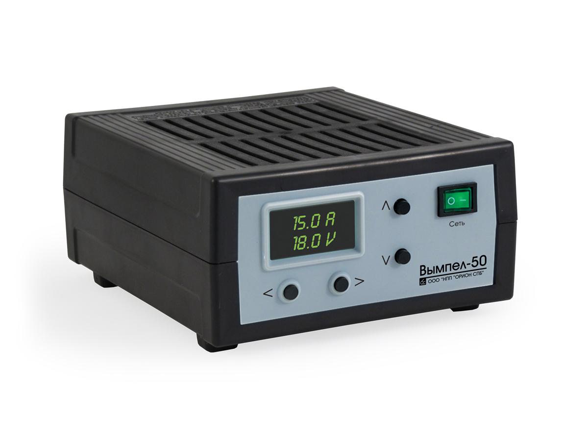 Зарядное устройство Вымпел-50, автомат, сегментный светодиодный индикатор, 0-18А, 5-19В зарядное устройство вымпел 57 автомат сегментный жк индикатор 0 20а 7 4 18в
