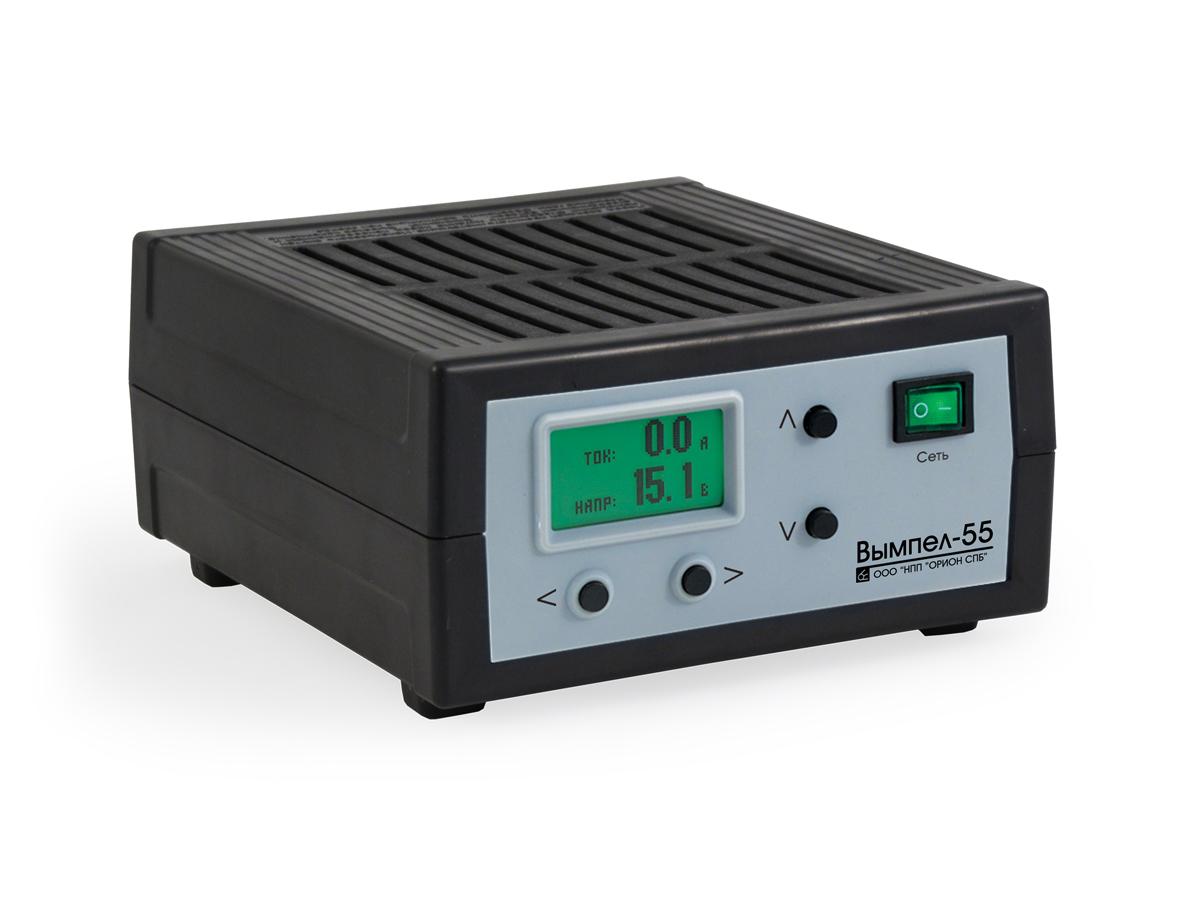 Зарядное устройство Вымпел-55, автомат, ЖК индикатор, 0-18В, 7,5-19В зарядное устройство вымпел 57 автомат сегментный жк индикатор 0 20а 7 4 18в