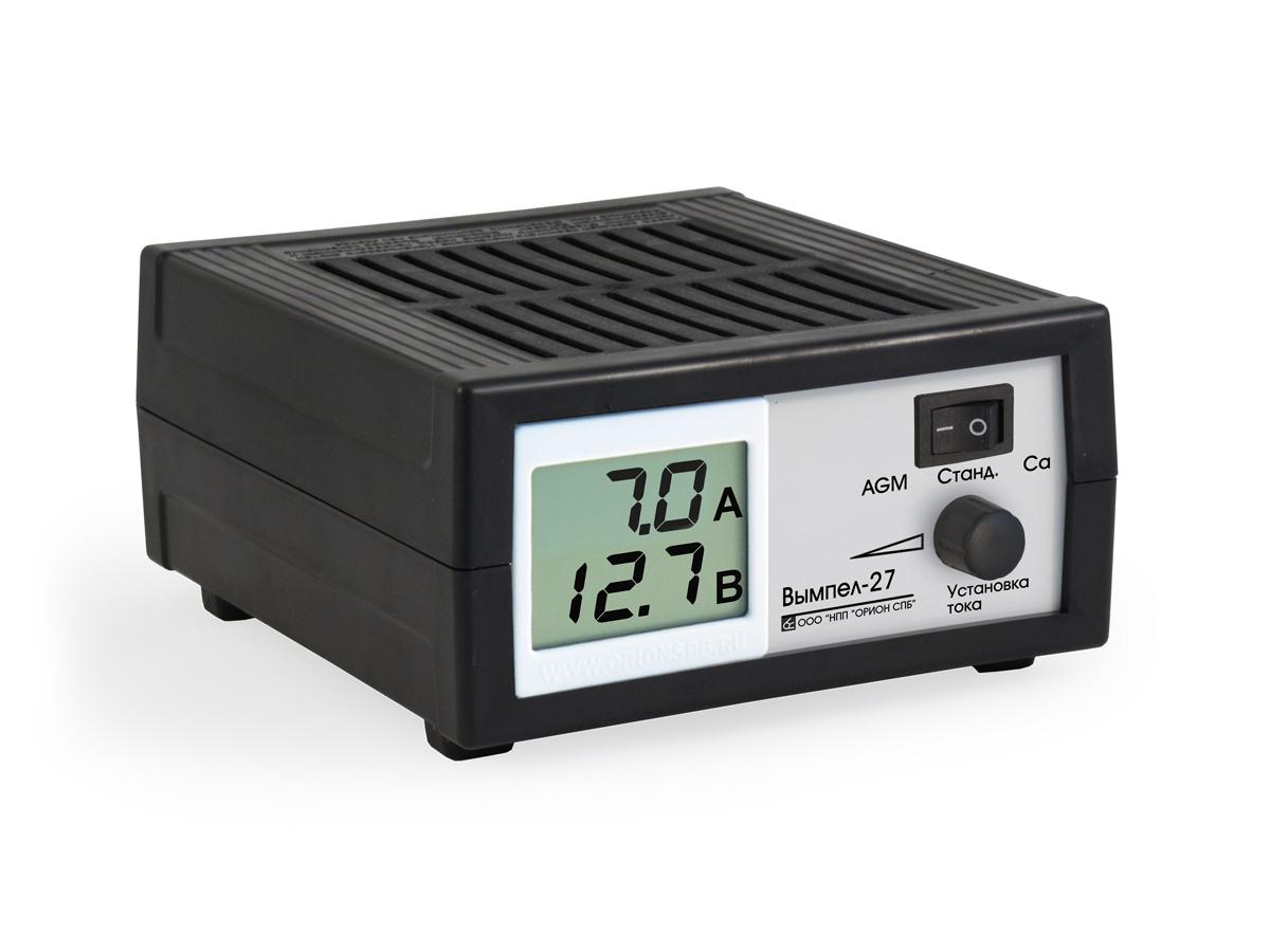 Зарядное устройство Вымпел-27, автомат, сегментный ЖК индикатор, 0-7А, 14,1/14,8/16В зарядное устройство вымпел 57 автомат сегментный жк индикатор 0 20а 7 4 18в
