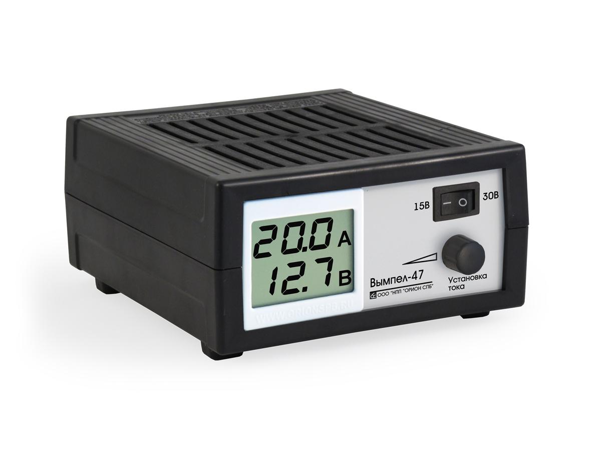 Зарядное устройство Вымпел-47, автомат, сегментный ЖК индикатор, 0-20А, 15/30В зарядное устройство вымпел 57 автомат сегментный жк индикатор 0 20а 7 4 18в