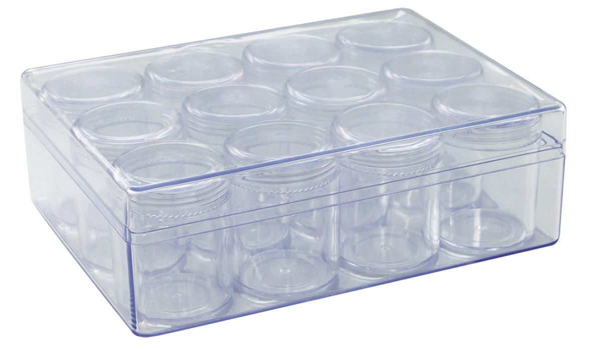 Контейнер для мелочей Hobby & Pro, с 12 баночками, 16,1 х 12,2 х 5 см контейнер для мелочей hobby