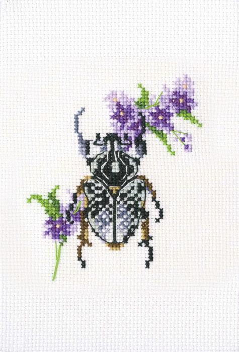 Набор для вышивания крестом РТО Жук на медунице, 8 х 9 см набор для вышивания крестом rto женский образ 9 х 11 5 см eh304