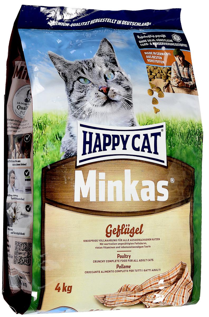 Корм сухой Happy Cat Minkas для взрослых кошек, с птицей, 4 кг happy cat сухой корм happy cat la cuisine для кошек с морской рыбой 1 4 кг