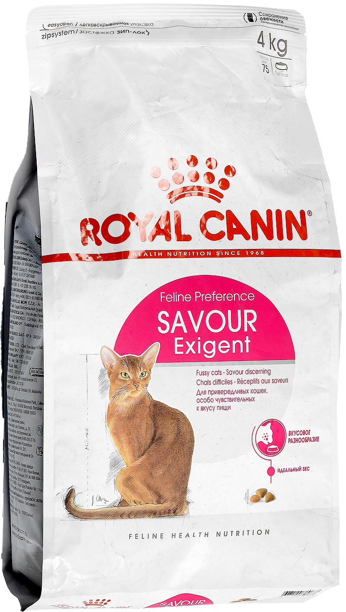 Корм сухой Royal Canin Exigent 35/30 Savoir Sensation, для кошек, привередливых к вкусу продукта, 4 кг корм royal canin exigent 35 30 400g для очень привередливых кошек 682004 682104