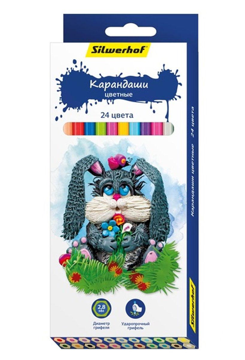 Silwerhof Карандаши цветные Пластилиновая коллекция 24 цвета ручки и карандаши silwerhof карандаши цветные silwerhof 12 цв