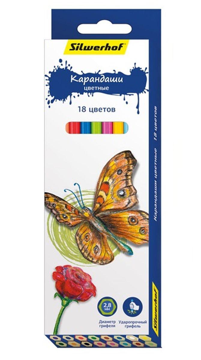 Silwerhof Карандаши цветные Бабочки 18 цветов mattel карандаши цветные enchantimals 18 цветов