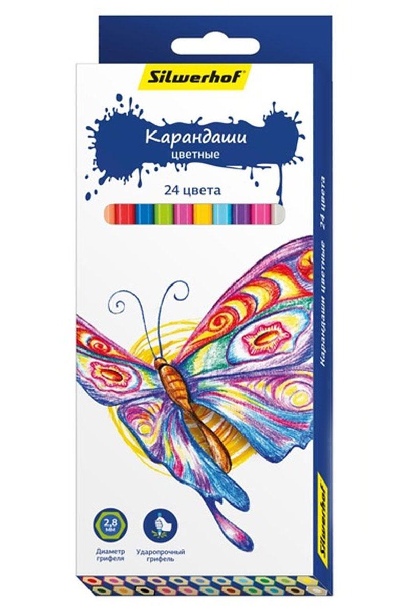 Silwerhof Карандаши цветные Бабочки 24 цвета ручки и карандаши silwerhof карандаши цветные silwerhof 12 цв