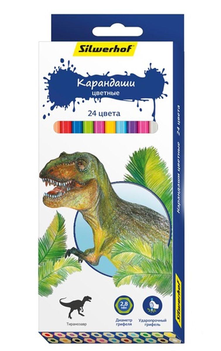 Silwerhof Карандаши цветные Динозавры 24 цвета ручки и карандаши silwerhof карандаши цветные silwerhof 12 цв