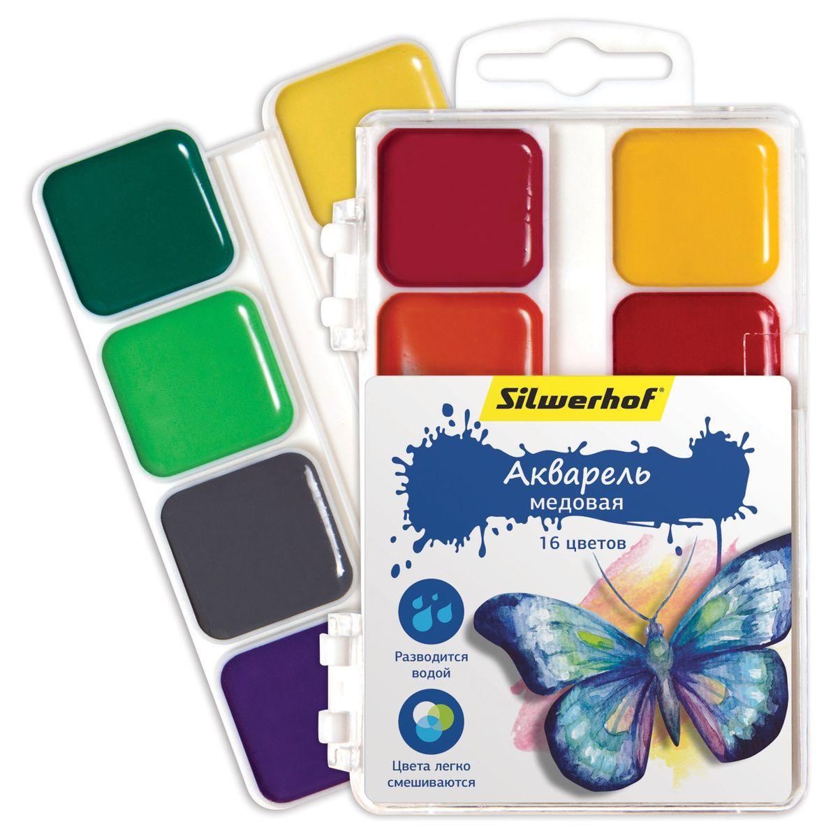 Silwerhof Акварель медовая Бабочки 16 цветов набор текстовыделителей silwerhof prime 4 цвета 108031 00