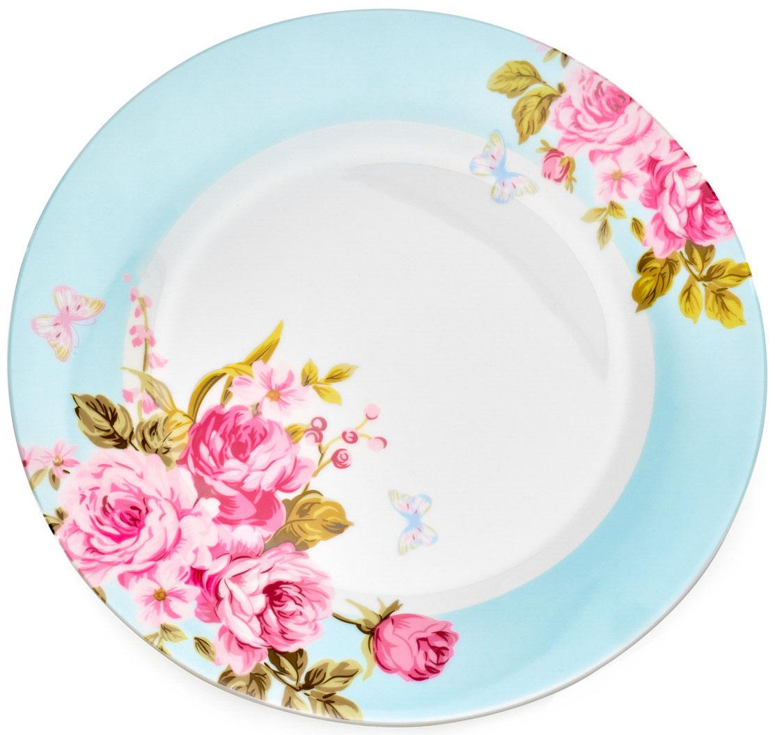 "Тарелка обеденная Walmer ""Mirabella"", цвет: голубой, диаметр 27 см"