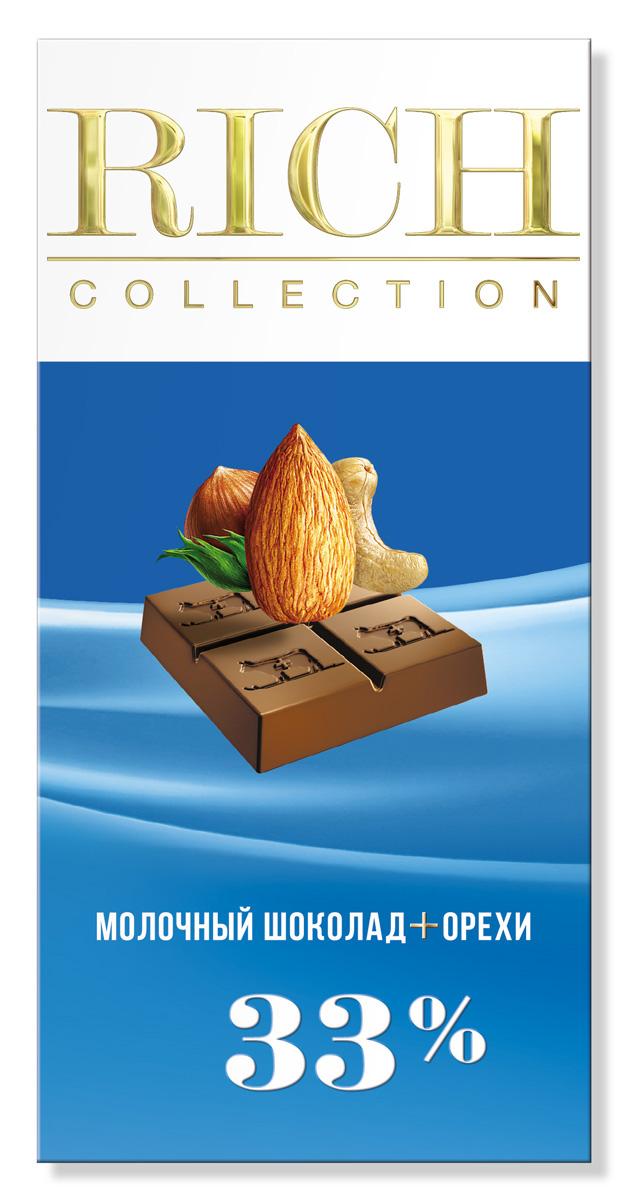 Rich Шоколад молочный с орехами, 70 г chco лев с сердцем молочный детский шоколад 70 г