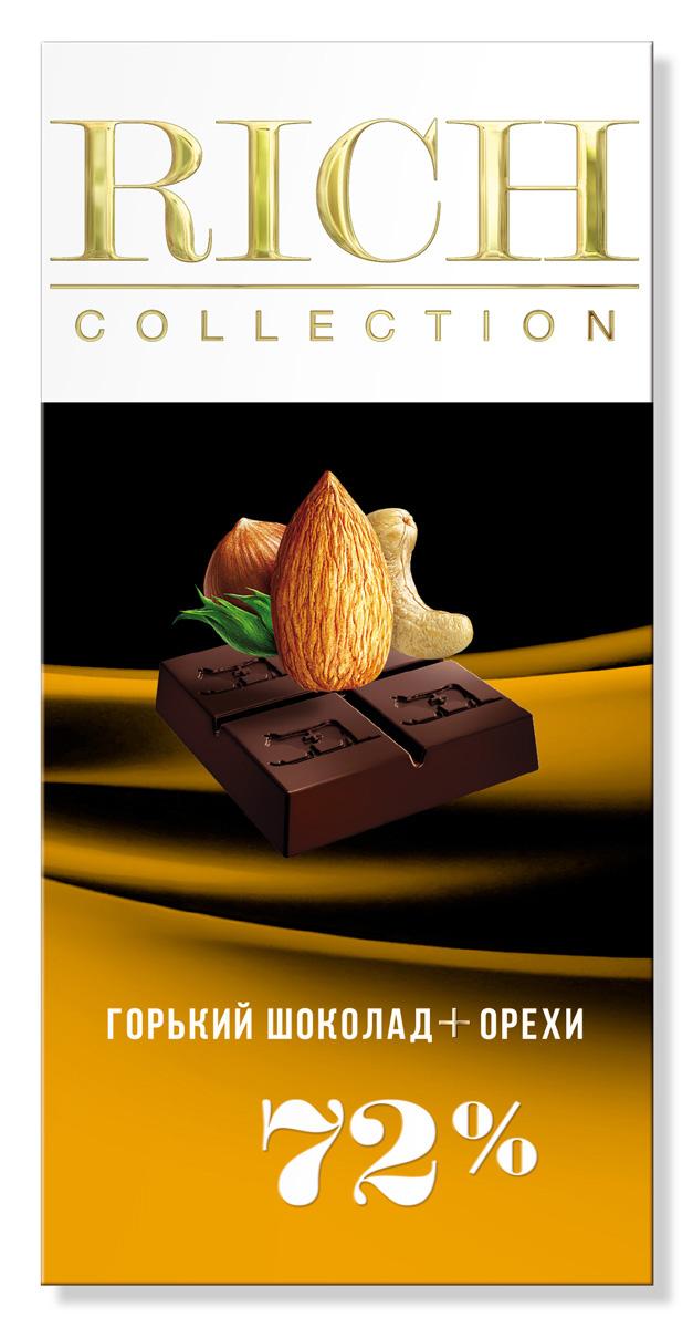 Rich Шоколад горький с орехами, 70 г горячий шоколад la festa горький 10 шт по 22 г
