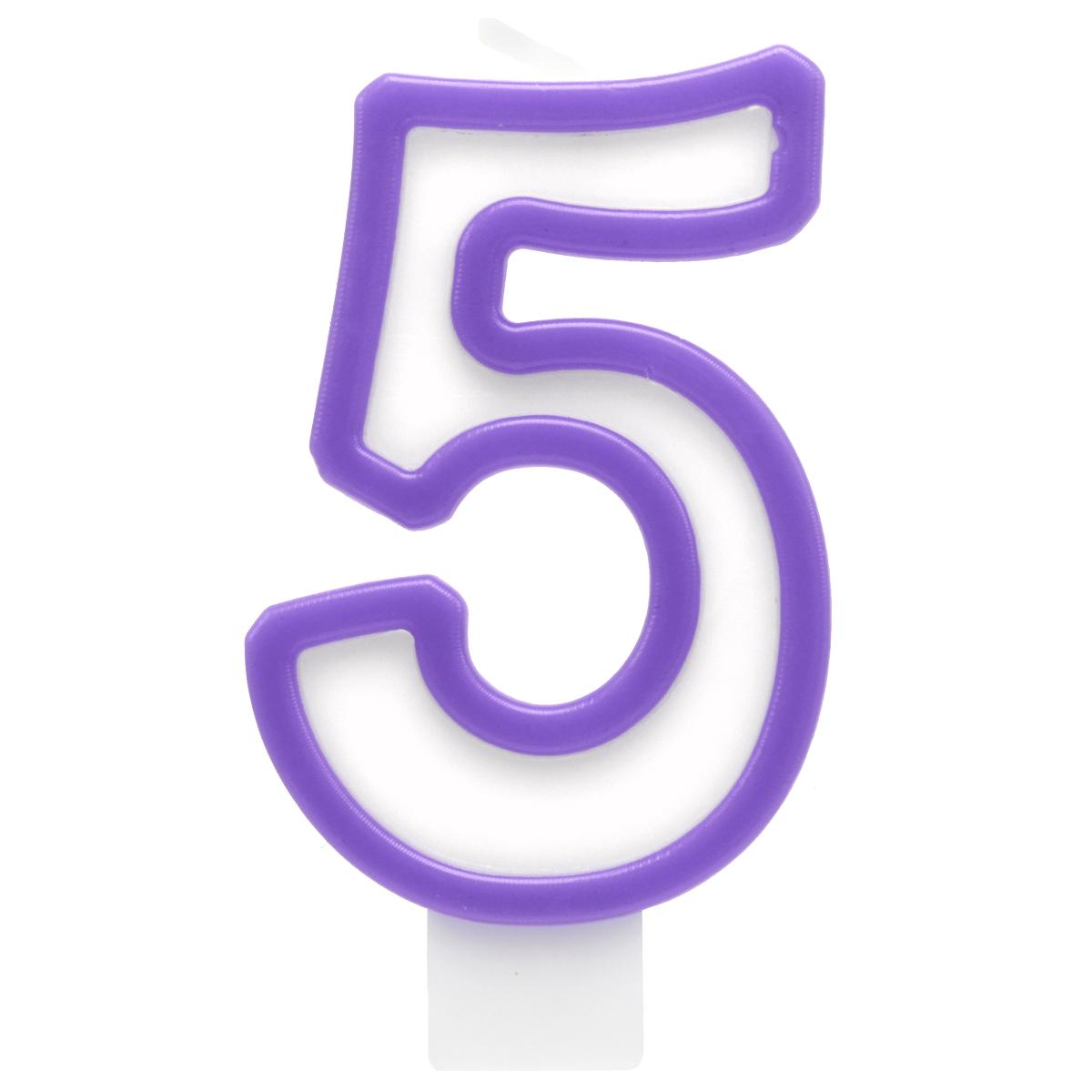 Action! Свеча-цифра для торта 5 лет цвет сиреневый action свеча цифра для торта 8 лет цвет желтый оранжевый