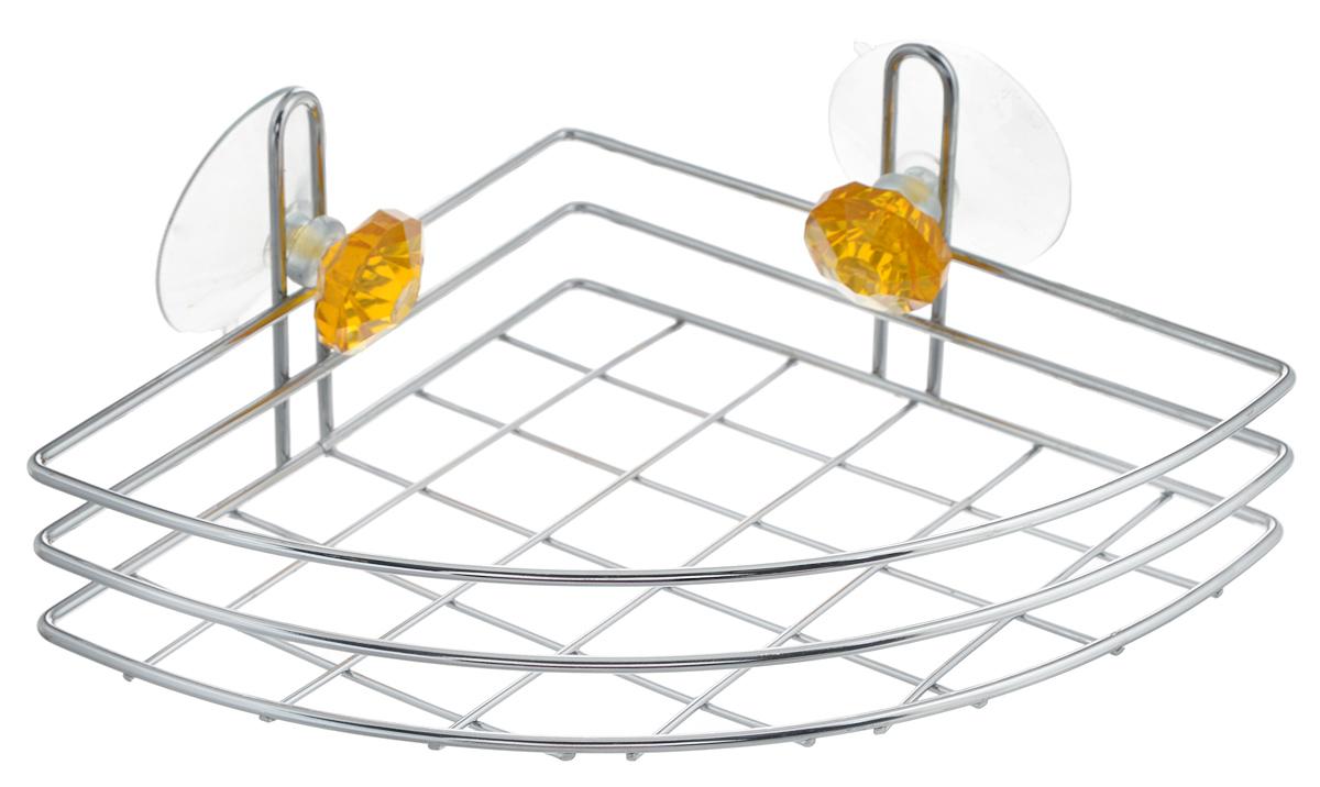 """Полка для ванной Top Star """"Kristall"""", угловая, одноярусная, на присосках, цвет: желтый, стальной, 24 х 18 х 8,5 см"""