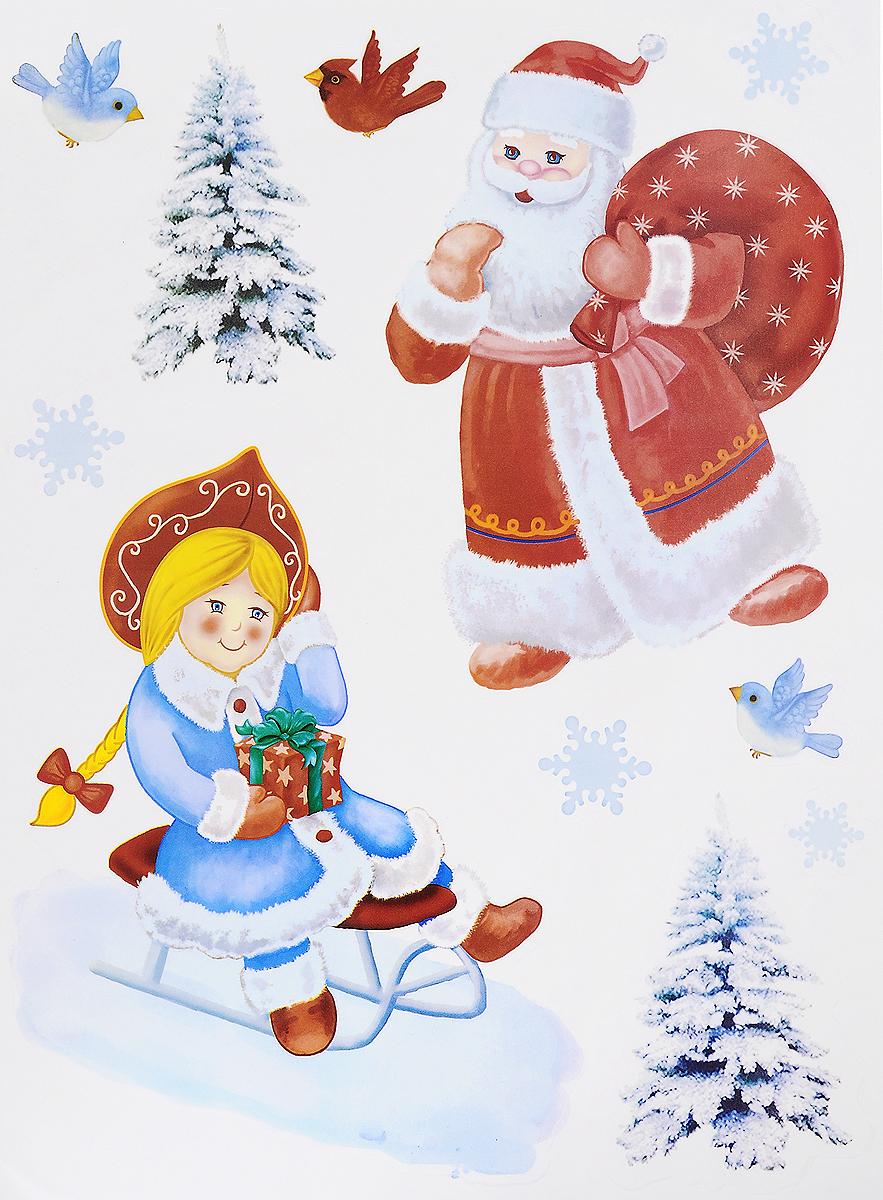 Украшение новогоднее оконное Winter Wings Дед Мороз и Снегурочка, 11 шт оконное украшение дед мороз и снегурочка 2000049137130 30 х 41 5 х 1 см