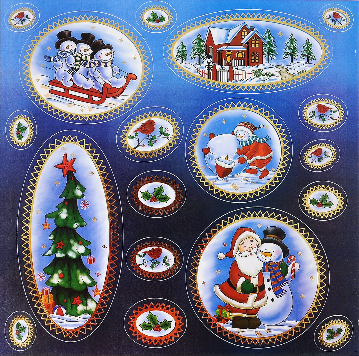 Украшение новогоднее оконное Winter Wings Новогодние мотивы, 18 шт мешок подарочный новогодние мотивы 10 12 см полиэстер