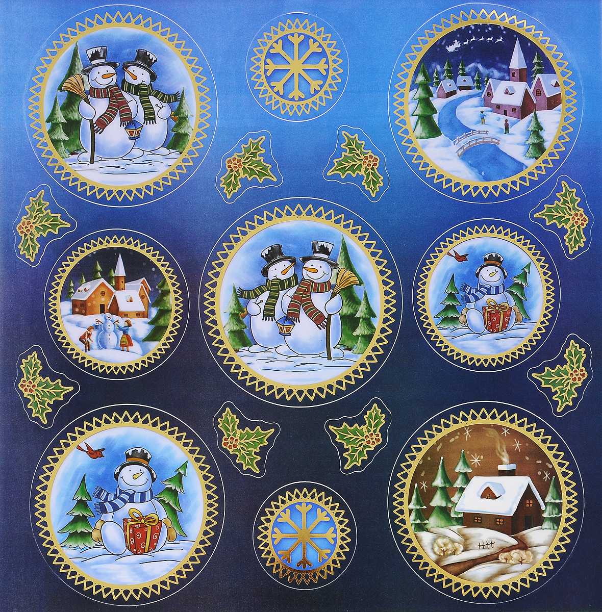 Украшение новогоднее оконное Winter Wings Снеговики, 16 шт украшение новогоднее оконное winter wings новогодние герои 5 шт n09356 ангелы